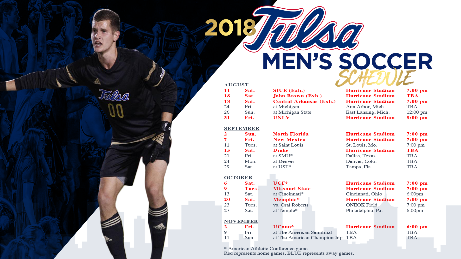 Tulsa Men s Soccer to Face Three 2017 NCAA Tournament Teams During 2018  Campaign 30d3b18f4